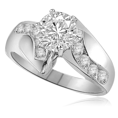 1ct round center and accents ring in White Gold