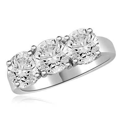 Three stone ring featuring Diamond Essence center stone and round accents, 3.0 cts. t.w. in 14K Solid White Gold.