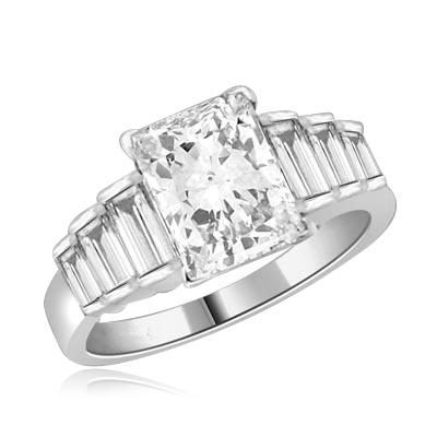 4.25 ct. t.w. ring with emerald cut center