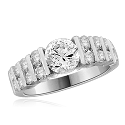 1 ct round diamond center stone ring in White gold
