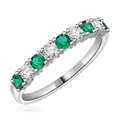 14K Solid White Gold Ring with round Emerald stones