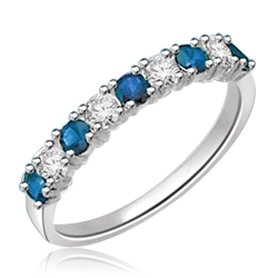 14K Solid White Gold Ring with round Sapphire  stones