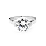 Solid White Gold ring with 5.0 cts. round Diamond