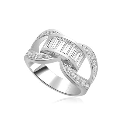 white gold band-round stones on sides & baguettes