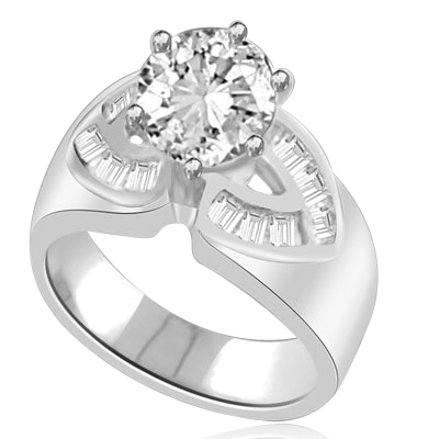 Resplendent 14k Solid White Gold ring With 2.0 cts. round Diamond Essence centerpiece and channel set Princess Cut Diamond Essence Stones on each side, 2.6 Cts. T.W.