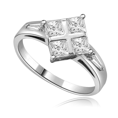 4 Princess Cut Masterpieces Ring in White gold