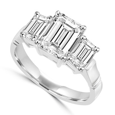 2 ct emerald-cut stone with white gold ring