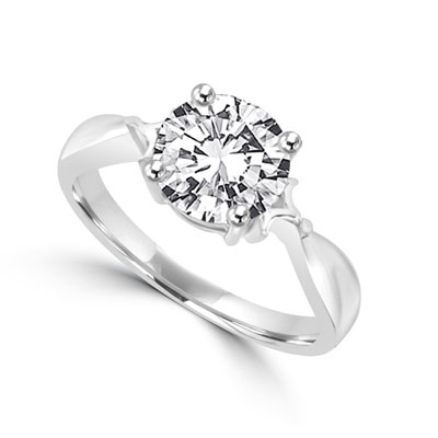 Ring-2ct round dimond in white gold