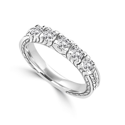 5 round brilliant stones in 14k solid white gold ring