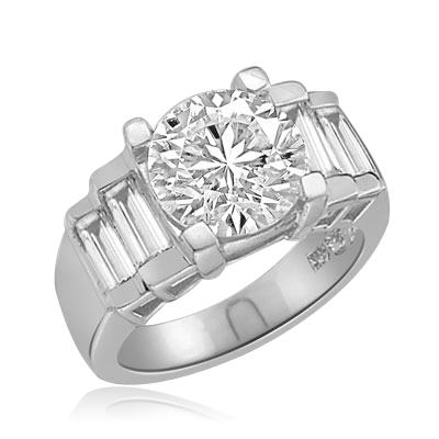 3.5ct round stone and baguettes ring in white gold
