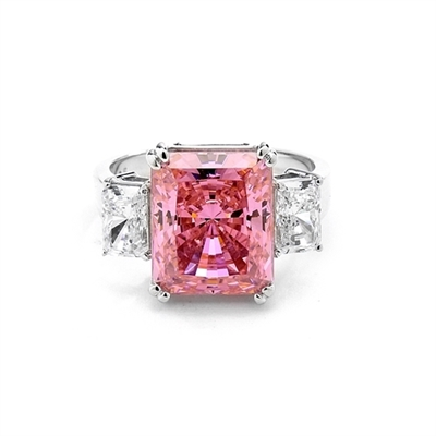 Pink Essence Ring—Emerald-cut 8-carat Pink Essence ring with Diamond Essence baguettes. 8.5 cts. T.W. set in 14K Solid White Gold.
