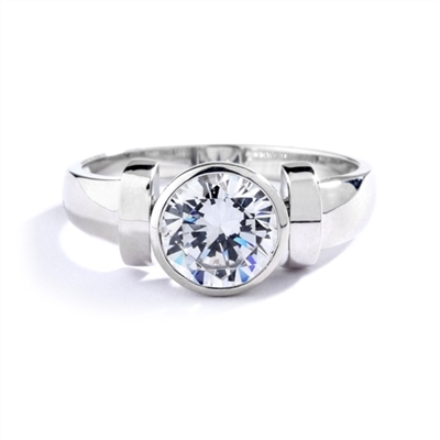 Solitaire Ring with 2ct. Round Brilliant  Diamond Essence, bezel set in 14k Solid White Gold. (( Image in Yellow but product in 14k Solid White Gold)