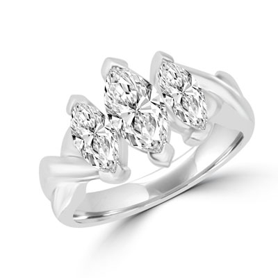 marquise 14k solid white gold ring
