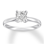 14K white gold ring with cushion cut  stone