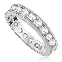Eternity Band--Flawless round-brilliant Diamond Essence masterpieces completely encircle this channel set wedding band. 2.0 Cts T.W. set in 14K Solid White Gold.