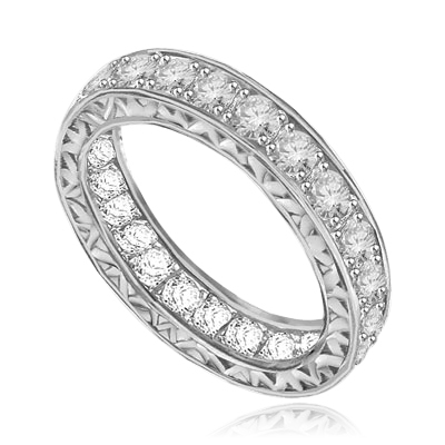 Eternity band with filigreed sides in white gold