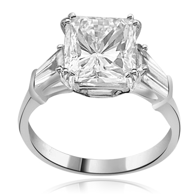 Prong Set Engagement Ring with Artificial Princess Cut Brilliant Diamond and Baguettes by Diamond Essence set in 14K Solid White Gold