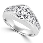 2 carat center stone 14K Solid White Gold  ring
