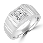 square stone,florentine finish in white gold ring