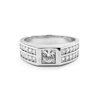 14K White Gold man's ring with .75 ct round Diamond Essence center stone with four rows of channel set round Diamond Essence accents, 2.0 cts.t.w.