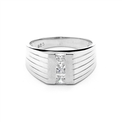 14K White Gold man's ring with these square cut Diamond Essence center stones, 0.40 cts.t.w.