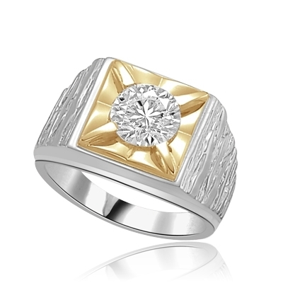 Play-Man's heavy ring with a 2.0ct in white gold