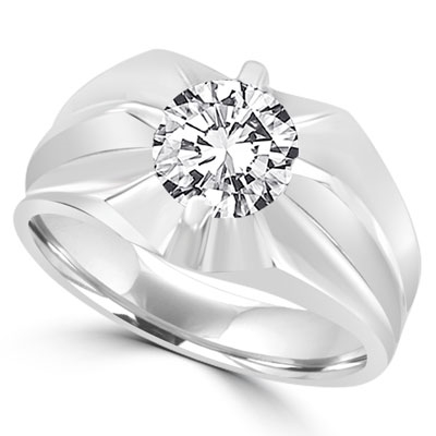 2 carat round cut 14K Solid White Gold  ring