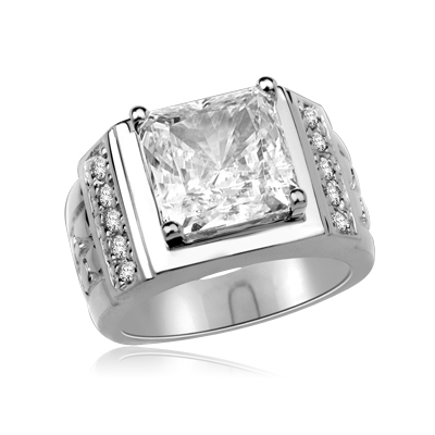 14K White Gold man's ring with a massive 6.0 ct. Radiant Square cut Diamond Essence Masterpiece surrounded by a loyal group of flawless, diamond-bright Round cut team players. 6.5 cts. t.w. Projects the perfect aura for your dynamic man.