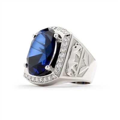Tiger Imprinted with Sapphire Center Stones and Diamond essence Side stones in 14K White Gold.