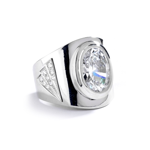 Man's classy wide bodied ring, two-tone 14K Solid White Gold, with Oval cut center stone, 6.15 cts.t.w