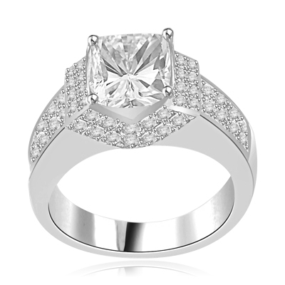 Scintillation-Dazzling ring with a dramatic prong-set 2.5 ct. in 14K Solid  White Gold