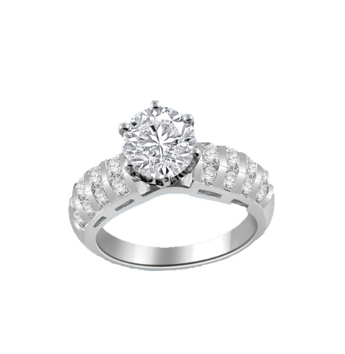 Our Destiny is a Classic Ring with a 2 Ct. Round Brilliant Diamond Essence Center stone and a melee of Channel Set Mini Essences frolicking down the band. 3 Cts. T.W, in 14K White Gold.