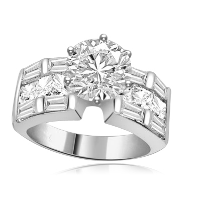 round,princess cut gems,baguettes in white gold ring
