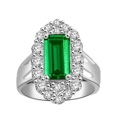 Emerald City Ring with a 3 Ct Emerald Cut Emerald Essence center surrounded by fiery Round Cut Diamond Essence Stones, 3.3 Cts.t.w. in 14K Solid White Gold.