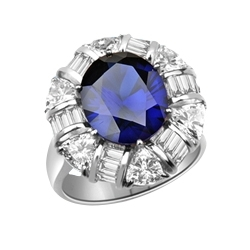 Prong Set Designer Ring with Simulated Oval Cut Sapphire Essence, Brilliant Baguettes and Trilliant Cut Diamonds by Diamond Essence set in 14K Solid White Gold