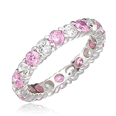 Pink & white round diamond eternity band of white gold