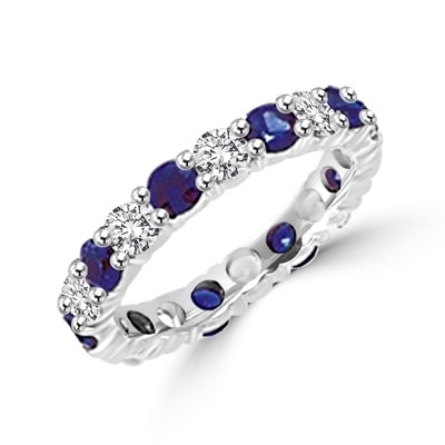 Beautiful eternity band of Sapphire Essence and round brilliant Diamond Essence stones, 2.0 cts.t.w. in 14K Solid White Gold.