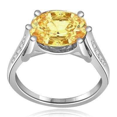 4ct canary diamond & mellee ring in white gold