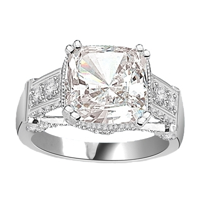 four carat cushion-cut solid white gold ring