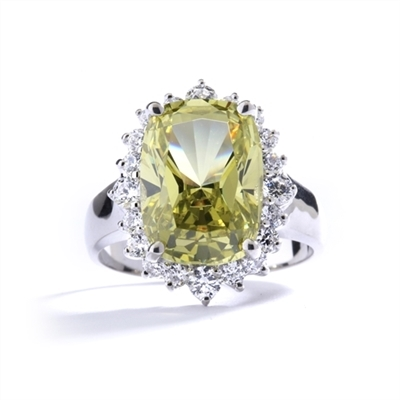 Ring with a oval cut 8.0 cts. Diamond Essence Peridot at the center, surrounded by round Diamond Essence stones, 9.0 cts.T.W. set in 14K Solid White Gold.