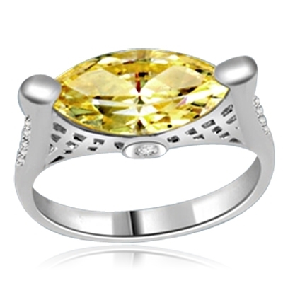 ring with marquise cut citrine stone in white gold