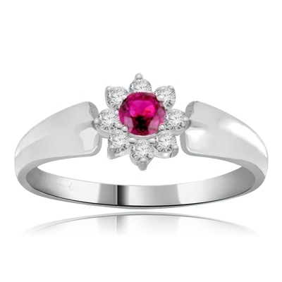 Little Ruby Flower Ring in 14K Solid White Gold