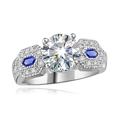 Diamond-&-Sapphire Ring in 14K Solid White Gold