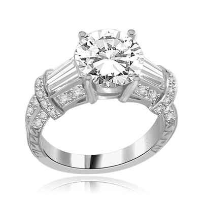3 ct. classic 14K Solid White Gold ring