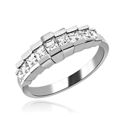 Graduating Nine Stone Princess Ring in white gold