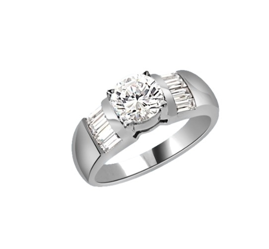 Classic ring with 1 carat Diamond Essence round brilliant with baguettes on each side. 2.0 cts.t.w. in 14K Solid White Gold.