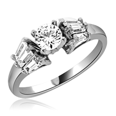0.5 ct Stylish thin band ring in White Gold