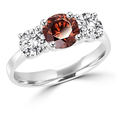 Diamond Essence Three stone Ring with 1.0 ct. round Chocolate Essence center and 0.5 ct. Round Brilliant stones on each side, 2.0 Cts. T.W. set in 14K Solid White Gold.