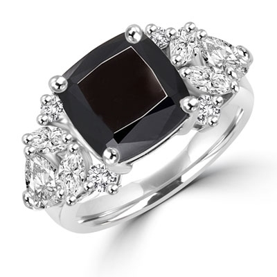 Diamond Essence Designer ring with 4.0 ct. Onyx center with round, marquies and heart shaped stones on each side, 6.5 cts. T.W. set in 14K Solid White Gold.