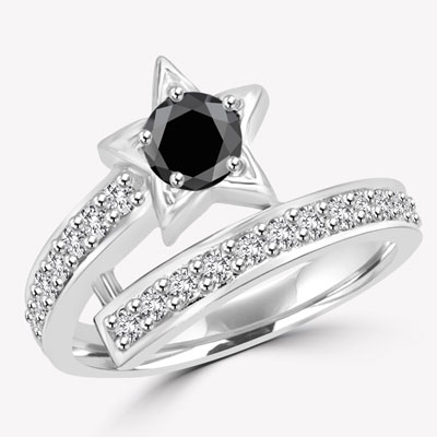Diamond Essence Designer ring with 0.5 ct. round Onyx center with round stone on band, 1.0 ct. T.W. set in 14K Solid White Gold.